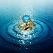 Jewelry ring in water waves — Foto Stock