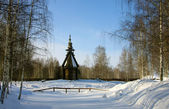 Old wooden church, winter — Stock Photo