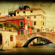 Retro card , old italian Venice — Stock Photo