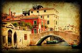 Retro card , old italian Venice — Stock Photo