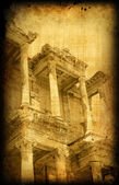 Retro card with Greece building, Ephesus — Stok fotoğraf