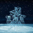 Winter night, monument an openwork  ship — Stock Photo