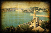 Retro card with turkish architecture, Bodrum — Stock Photo