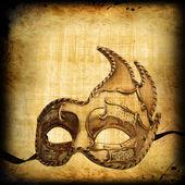 Retro postcard with venetian mask — Stock Photo