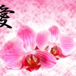 Stock Photo: Flower pink orchid and hieroglyph Love