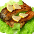 Roasted  fish with lemon — Stock Photo