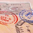 Document  passport with stamps and visa — Stock Photo