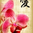 Stock Photo: Beautiful pink orchid and hieroglyph love
