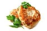 Chicken meat cutlets with parsley — Stock Photo