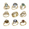Set of elegant female jewelry golden rings — Stock Photo #36861899