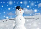 Snowman and snowstorm — Stock fotografie