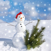 Snowman and snowstorm — Stock Photo