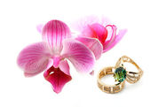 Elegant female jewelry with flowers — Stock Photo