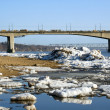 Stock Photo: Spring. Drifting Ice on river Volga.