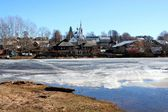 Spring. Drifting Ice on river — Stock Photo