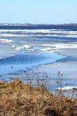 Spring. Drifting Ice on river Volga — Stock Photo
