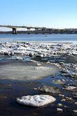 Spring. Drifting Ice on river Volga. — Stock Photo