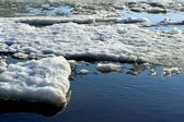 Drifting Ice on river — Stock Photo