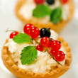 Tasty tarts with cottage cheese — Stock Photo