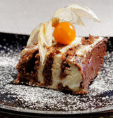 Tasty Chocolate cake with fhysalis — Stock Photo
