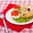 Food - tasty russian course with red caviar — Stock Photo