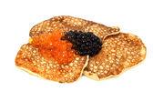 Salmon and beluga caviar with russian pancakes — Stock Photo