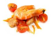Salát ze zeleniny rajčata cherry a krevety — Stock fotografie