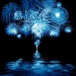 Celebratory blue firework — Stock Photo