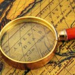 Old map and  magnifier — Stock Photo