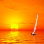 Lonely sailer on sunset — Stock Photo