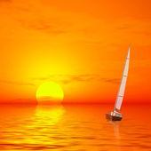 Lonely sailer on sunset — Foto de Stock