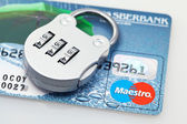 Plastic card and lock — Stock Photo