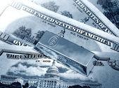 The money and gold bullion — Stock Photo