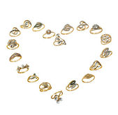 Set of golden jewelry, love — Stock Photo