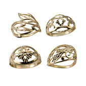Set of golden jewelry rings — Stock Photo