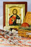 Decoración de Pascua y el icono de Dios — Foto de Stock