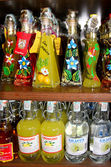 Bottles with wine and liquors the San-marino — Stock Photo