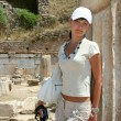 Pretty traveller in Ephesus — 图库照片 #38917715