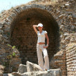 Pretty traveller in Ephesus — Stock Photo #38917849