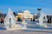 Russian town Kostroma city, Icy sculpture — Stock Photo