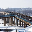 Russian town Kostroma city, Volga river , bridge — Stock Photo