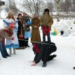 Stock Photo: Winter holidays in Russia. Pancake week.