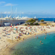 Beach and sea, Antibes city, France — Stock Photo