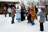 Winter holidays in Russia. Pancake week. — Stock Photo