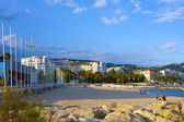 The city of Cannes with its famous croisette and marina — Stock Photo