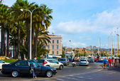 Street and port, located in Cannes, French — Stock Photo