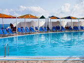 Hotel and pool on a Crete — Stock Photo