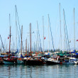 Stock Photo: Yachts on mooring