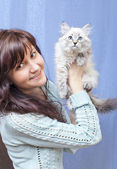 Girl with kitten — Stock Photo