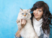 Charming young woman with Siberian cat — Stock Photo